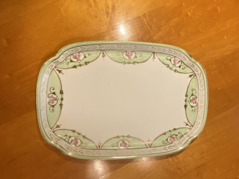 Nippon Porcelain Hand Painted Dresser Tray with Gold and Floral Details