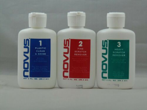 NOVUS PLASTIC POLISH KIT #1 #2 #3 2 OZ CLEANER SHINE BOTTLE PROFESSIONAL PINBALL