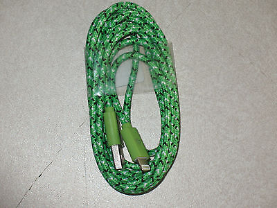 NEW!!! 6 Feet 8 Pin Nylon Braided iPhone 6/5 Data Sync Charging Cable (green)