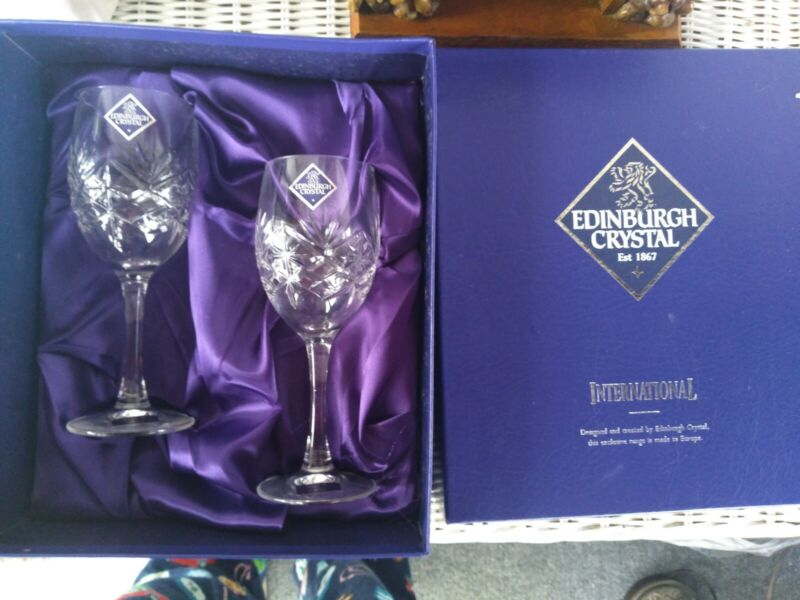 NEW EDINBURGH CRYSTAL WINE SHERRY GLASSES GOBLETS BOXED SET OF 2 France vtg