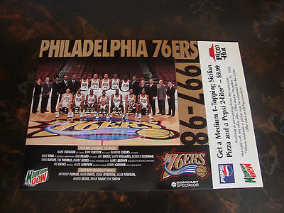 Philadelphia 76Ers   1997 98 Team Photo   With Pizza Hut Coupon Attached   Vhtf