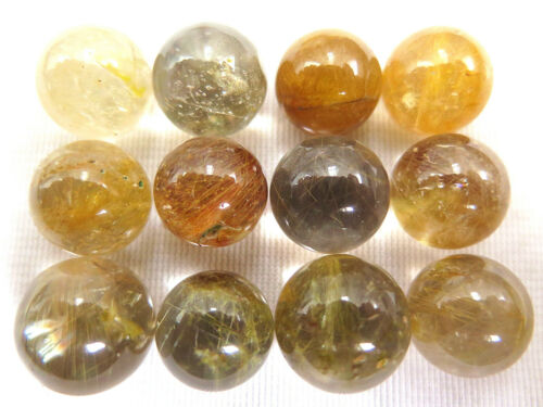 12 NATURAL copper hair RUTILATED QUARTZ CRYSTAL sphere ball healing A84