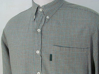 PAUL SMITH Gray & Blue Plaid Check Shirt Size L Large