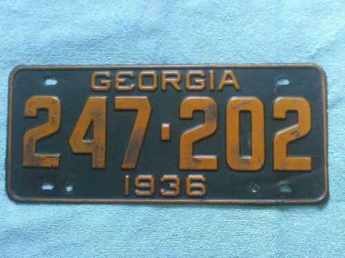 1936 GEORGIA LICENSE PLATE ALL ORIGINAL