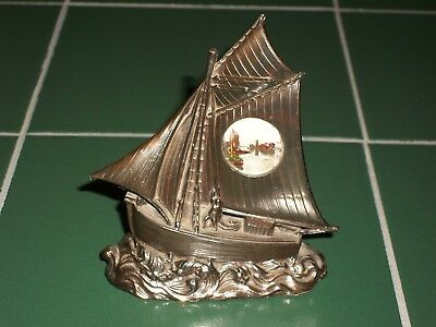 Old Bronzetone Metal Sailboat Souvenir La Rochelle Port et Tours Modele Depose