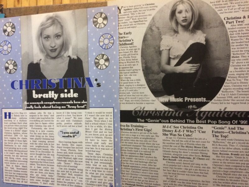 Christina Aguilera, Lot of TWO Full Page Vintage Clippings