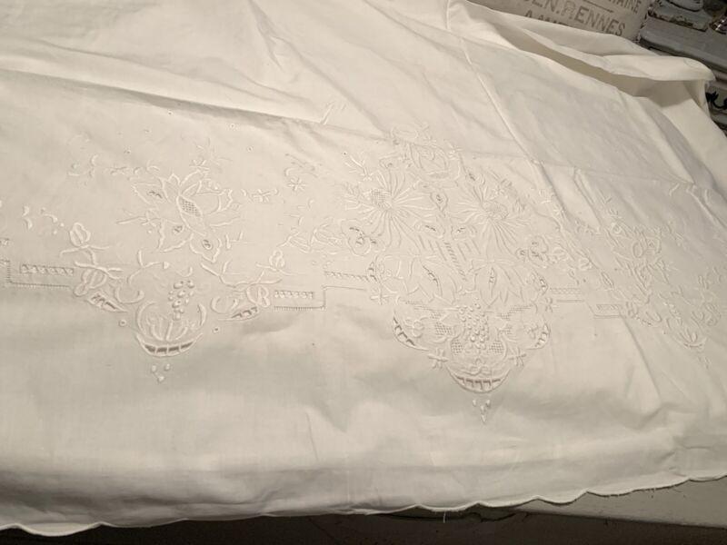 Vintage Embroidered White Flat Sheet w/ 2 Pillowcases Set 100% Cotton Unused