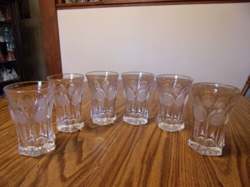 FOSTORIA SIX TUMBLERS CLEAR WITH FROSTED COINS