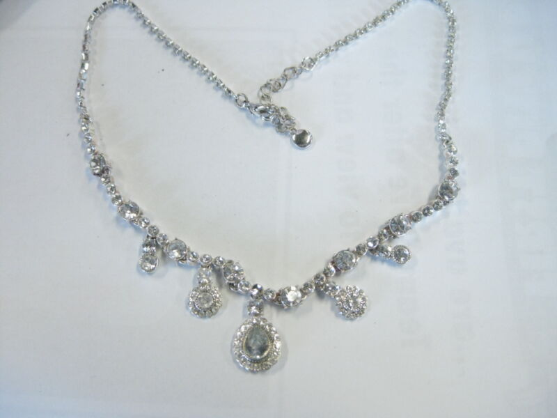 "Vintage Art Deco Liz Claiborne 16+"" Rhinestone Necklace and Pierced Earrings"