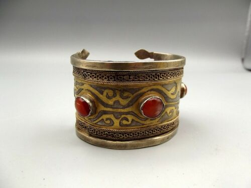 Vtg Turkoman Silver Tekke Cuff Bracelet Carnelian Brass Ornate Inlay Antique