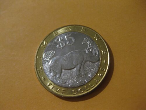 2002 Zimbabwe Coin  5 Dollars  RHINOCEROS  super nice high grade coin
