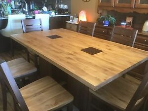 Canadian made Hardwood Dining Table and Chairs