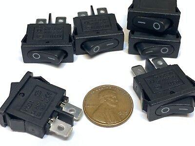 6 Pieces Black Slim Rocker Switch Spst 10a 12v Kcd1-110 3v Latch On Off 2 Pin B8