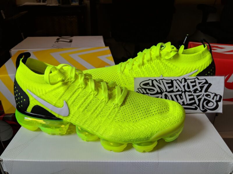 a77002f877 Nike Air Vapormax Flyknit 2.0 Volt White Black Yellow Men's Running  942842-700