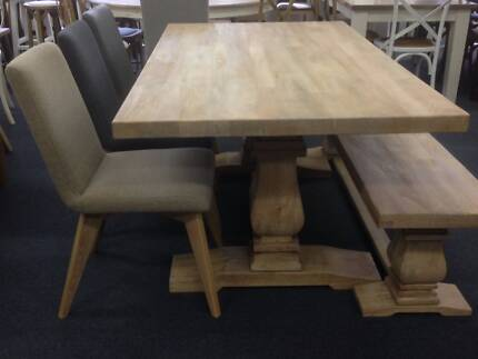 Solid Montego 5 Piece Dining Set Table Bench Manhattan Chairs