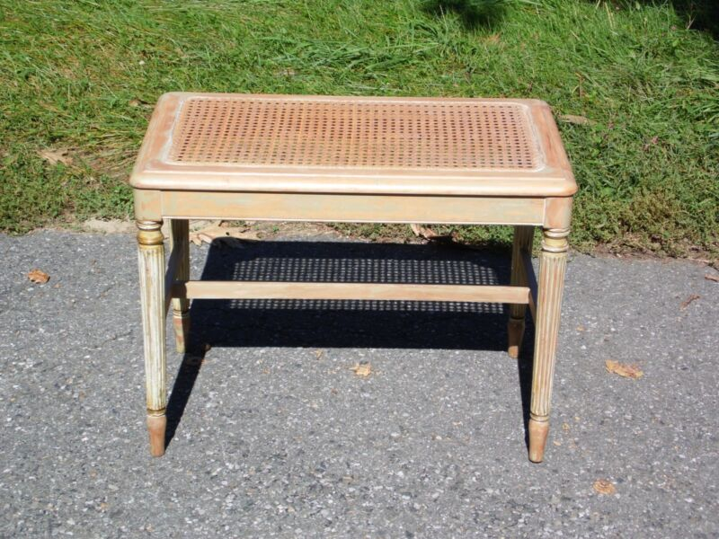 Vintage French style Caned Piano Bench Vanity Stool Shabby Chic Entry Table