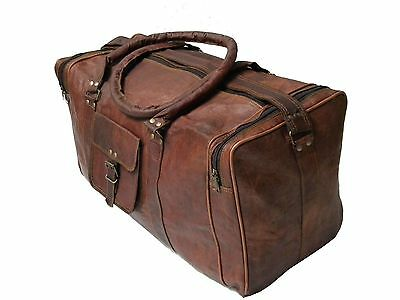 "24"" New Men's duffel genuine Brown Leather large vintage travel gym weekend bag"