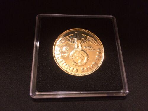 5 Reichsmark Silber 1936 J mit HK - 24 Karat hartvergoldet