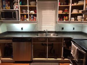 Countertop with Double Sink and Faucet