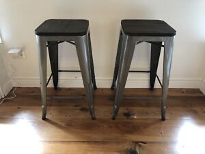 Retro, Farmhouse, Industrial, Rustic Wood Metal bar stools
