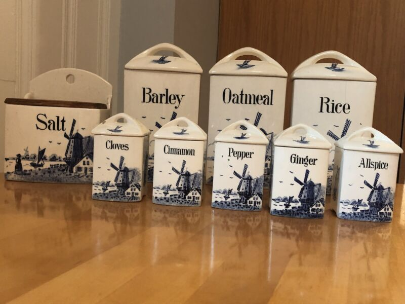 Vintage Delft Blue  Windmill Canisters & Salt Box - Mignon - Germany