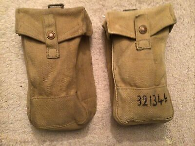 Genuine ww2 British & Australian P37 Front Webbing Pouches. Named. [EXPORT].