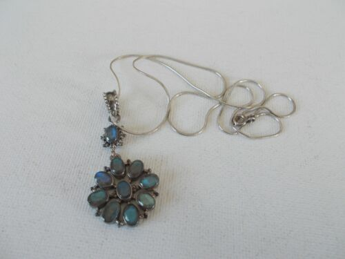 India PTI sterling silver vintage fine chain necklace, small pendant, iridescent