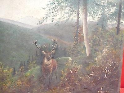 altes Gemälde__Hirsch  in Landschaft__signiert_ !