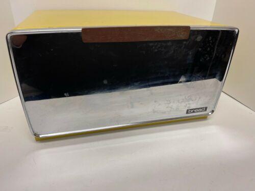 Vintage Lincoln Beautyware Bread Box Yellow Chrome w/ Pie Shelf & Bread Board