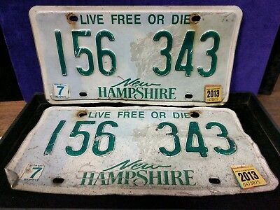 1 set/Pair of NEW HAMPSHIRE License Plates #156 343 Live Free Or Die VIN/EXP