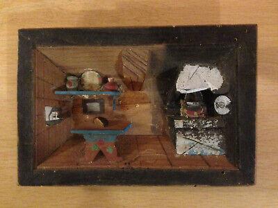 Vintage Swiss 3D Retro 1950s  Wooden Kitchen Diorama Picture (Engelberg 1955)