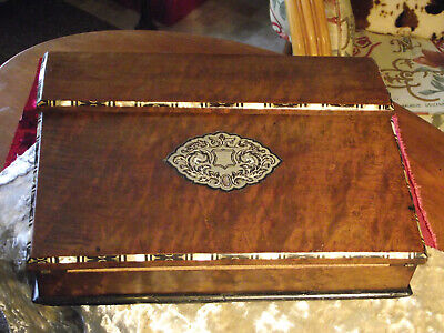 pewter ,mother of pearl, abalone and ebony inlaid deep walnut lap writing slope