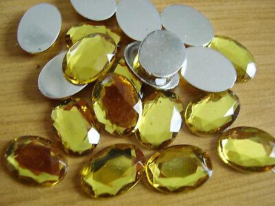 20 Schmucksteine ° oval gelb silber facettiert sonne glanz DIY° 10 x 15 mm °H97