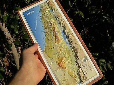 """ISRAEL 3-D Topographic Wall MAP Roads Holy Places Bible Land ENGLISH 15"""" Travel"""