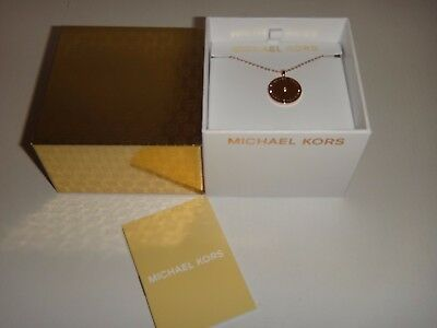 Michael Kors Women's Outlet Gold MK Disk Necklace Crystal Chip MKJ2654710 + BOX