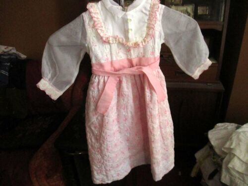 sz 3 3T Vintage Girls 50s CLAIRE BROOKE SHEER SLEEVE PRINCESS PINK PARTY DRESS