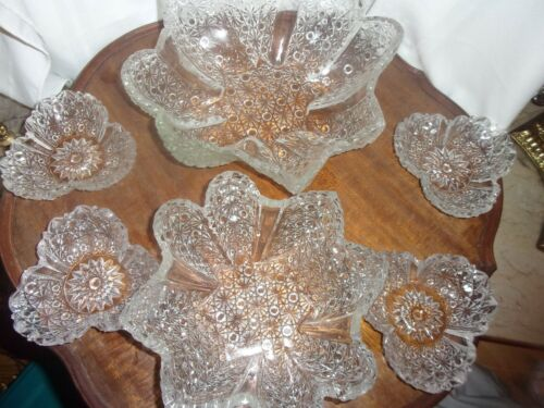 HOBBS BROCKUNIER Daisy Button Bowl Set EAPG ? Older Glass