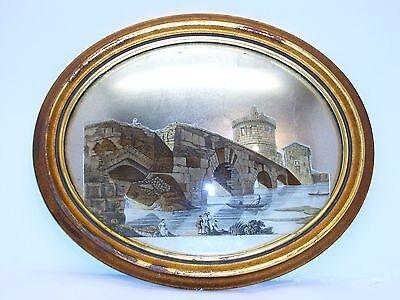Antique Decoupage Oval Convex glass Picture. French style Sungott Art Studios
