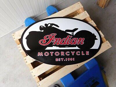 INDIAN Motorcycle Garage Motor Oil Dealer Vintage European Porcelain Enamel Sign