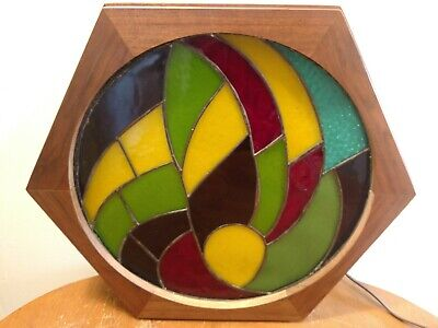 Lovely Vintage Hand Crafted Stained Glass Window Lamp Hexagon Wood Case