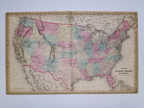 1869 Genuine Antique map United States. Hand colored. Signature border. Colton