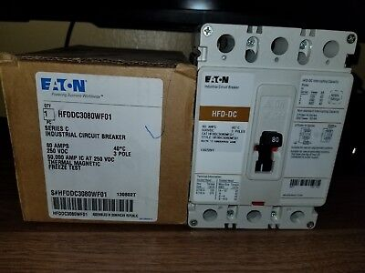 Rated Circuit Breaker (NEW - EATON Circuit Breaker HFDDC3080W 80A 600VDC Freeze Rated - 10 Available)