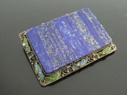 Vintage Natural Lapis Lazuli Gemstone SP Filagree Enamel Chinese Brooch Pin
