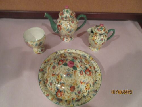"CHINTZ, FOUR UNUSUAL MISC. PIECES,  ""EXOTIC BIRDS"" by EMPIRE WARE, VGC"
