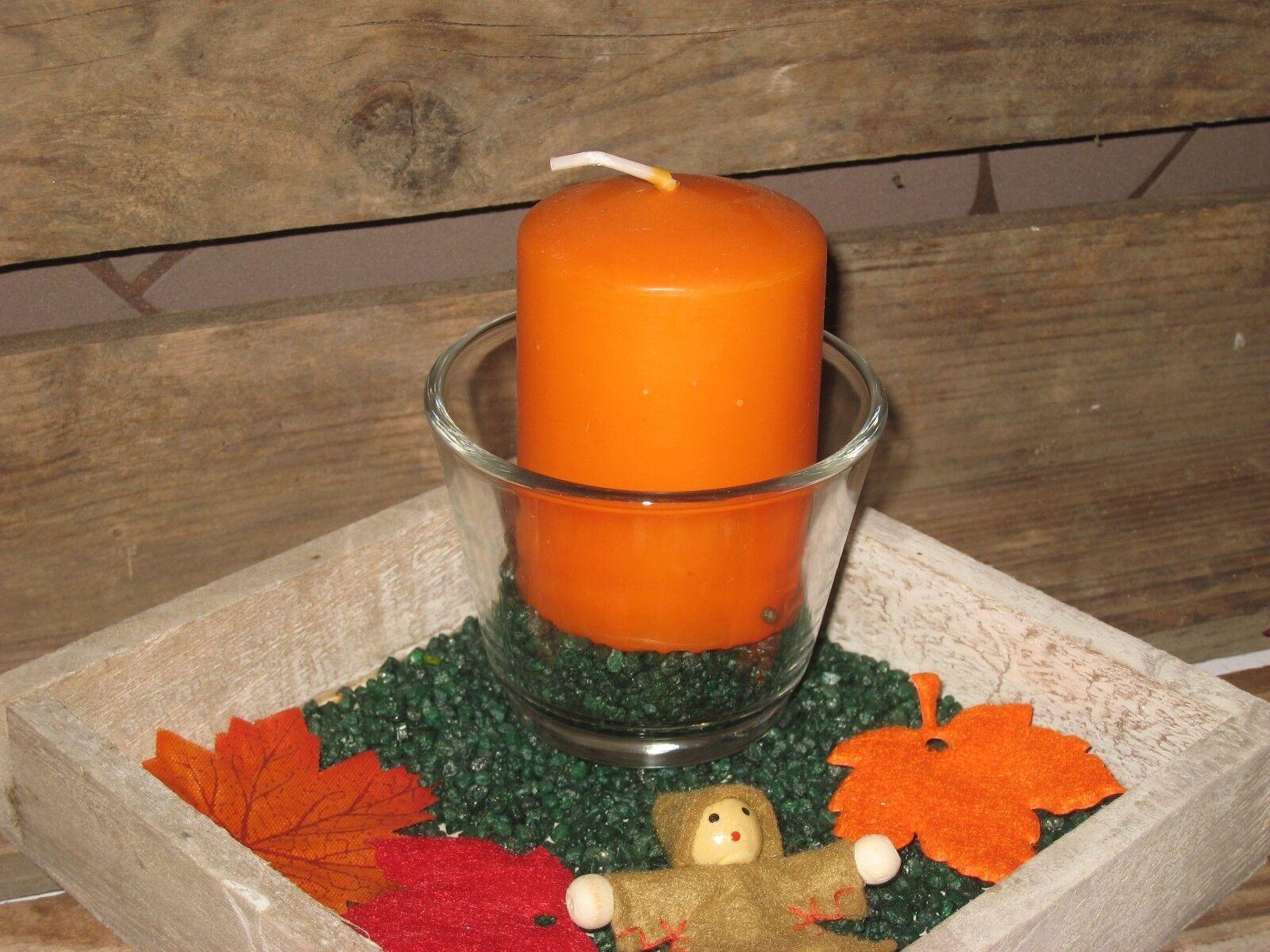 Tischgesteck Windlicht Herbst Deko Kerzenteller Tablett