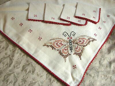 Unused Collectors Rarity 4Color Woven Art-Nouveau Image Tablecloth w Fringes Red Figural Motifs 45x45