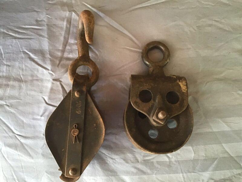 Pair Of Antique Old Metal Pulleys