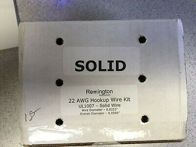 Remington 22 Awg Gauge Solid Hook Up Wire Kit 25 Ft Each 0.0253 Dia 300 Volts