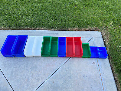 LOT OF 12 AKRO-MILLS BOLT BINS Various Sizes Blue White Red