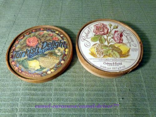 Vtg Crabtree & Evelyn ROUND Wooden Pantry BOX Turkish Delight 2-SIDED GRAPHICS